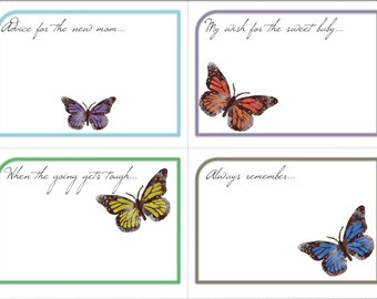 Wishing Tree Baby Shower Advice Cards - Butterfly - Butterflies - Brown Green Orange digital download printable - Instant Download