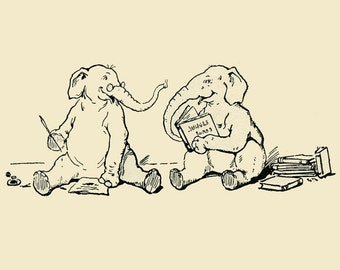 5x7 Print  -Elephants Reading- From 1905 Children's Book Illustration