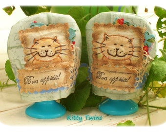 KITTY TWINS -Two CUTE Egg Cosies, Crazy patchwork, primitive hand drawn, hand embroidered,Applique, Made in Australia