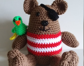 Pirate Bear With Parrot, Pirate, Bear, Crocheted Bear, Ready To Ship, Teddy Bear, Brown Bear, Stuffed Bear, Stuffed Animal, Parrot
