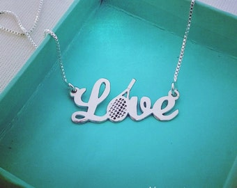 Silver Tennis Necklace Tennis Racket Necklace Love Necklace Tennis Racket Pendant Sport Jewelry Tennis Jewelry Tennis Player Gift
