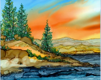 Trivet- Art Tile- Dye Sublimation Imprint of Alcohol Ink painting on Ceramic 6x6 Tile- Alcohol Inks- Mountain Lake