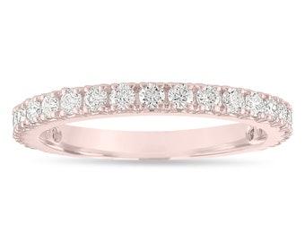 Diamond Wedding Band Rose Gold, Half Eternity Wedding Ring, Diamonds Anniversary Ring, 0.63 Carat Certified Handmade