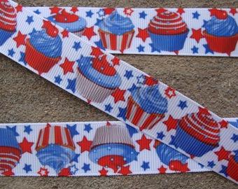 """3 yards 4th of July Cupcake grosgrain ribbon 7/8"""" Stars ribbon Birthday cupcake ribbon candy hair bow ribbon Party ribbon"""