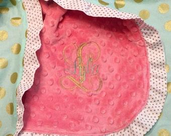 Mint & Gold Polka Dot Baby Blanket