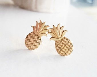 Tropical Jewelry, Pineapple Earring Studs, Exotic Earrings, Summer Earrings, Exotic Summer, Fruit Jewelry, Sterling Silver Hypoallergenic
