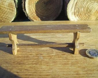1/12th scale handmade dollshouse miniature medieval/tudor or rustic bench