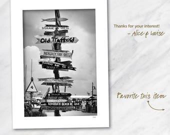 13x19 Black and white fine art photography print. Key West Signage, Key West, Florida