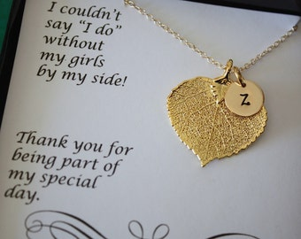 4 Monogram Bridesmaid Necklace, Real Leaf Necklaces, Thank You Card, Initial Gold Charm, Personalized Charm, Bridesmaid Gift