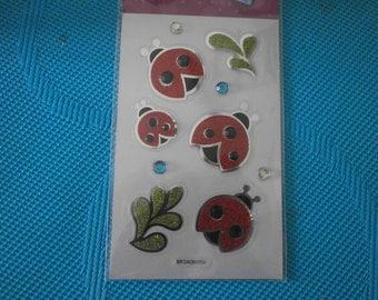 set of sparkly ladybugs with Rhinestone stickers