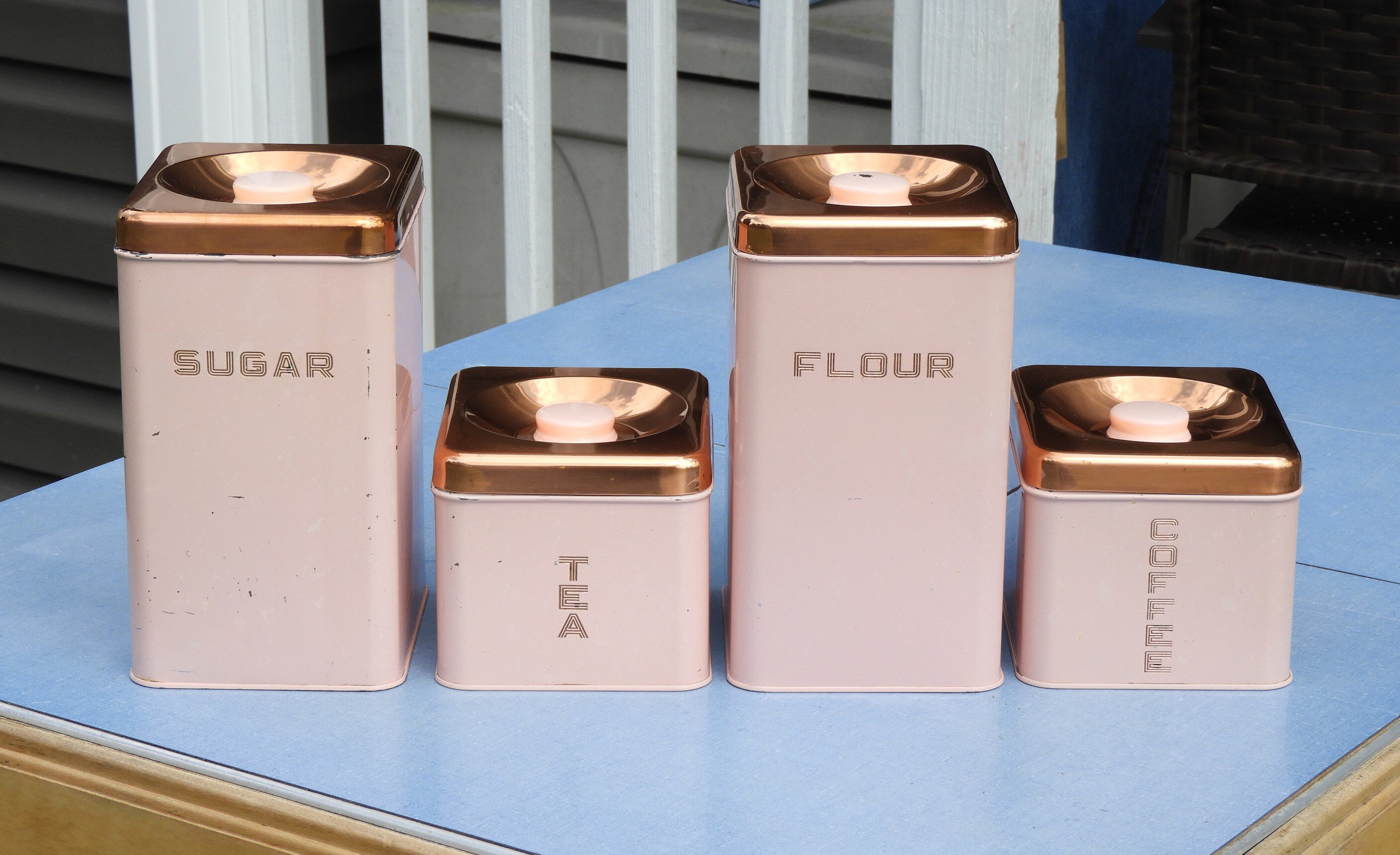 Vintage Kitchen Canisters (4), Pink U0026 Copper Lincoln Beautyware, Square  Kitchen Decor, Decorative Storage Bins, Retro Pink Containers