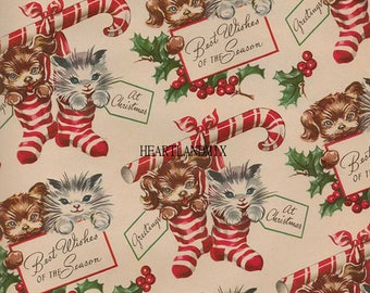Vintage Holiday Christmas Wrapping Paper Digital Image Download Printable Kittens and Puppies