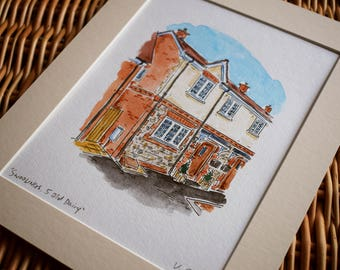 Custom HOUSE Portrait - Artist Hand Painted watercolour and Ink Illustration - UNIQUE GIFT!