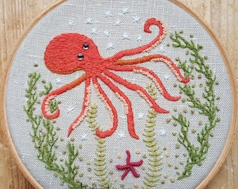 Octopus Crewel Embroidery Pattern and Kit