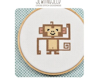 Monkey Cross Stitch Pattern Instant Download