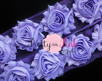 LAVENDER  Shabby Rose Trim - Shabby Chiffon Rosettes - 1/2 Yard or 1 Yard - Shabby Flower Trim - Wholesale Shabby Flower - Chiffon Flower