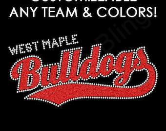 Team Name Rhinestone + Glitter Iron-on Transfer Bling Crystal Applique - You Choose Colors - Make Your Own Shirt