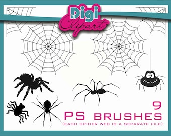 Spider Web Spiders PS Brushes Halloween Clip Art - INSTANT DOWNLOAD