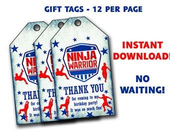 Ninja warrior Thank You Tags - Ninja warrior thank you tags,gift tags,tags,tooth bag tags,rectangular tags,favor tags,printable tag,American
