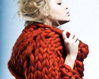 Chunky knit sweater. Giant knit turtelneck. Chunky sweater. Woolen bulky yarn bomber. Giant knitting warm sweatshirt. Fashionoble knitwear.