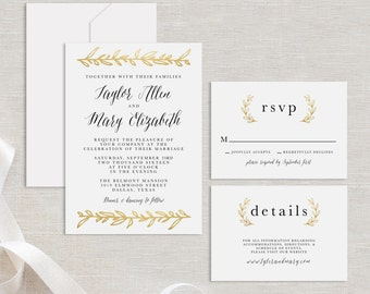 Timeless and elegant wedding invitation suite white and gold gold leaf sample wedding suite printable gold wedding suite sample instant download sample wedding invitation rsvp details card stopboris Gallery