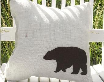 "13""x13"" Burlap Bear Pillow-Wildlife Collection-Choose Your Colors-Rustic/Natural/Folk/Country/Primitive-Cabin Decor-Mountain Home Decor"