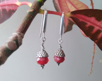 Vintage Red Hydro Quartz Sterling Silver Dangle Earrings Red Stone
