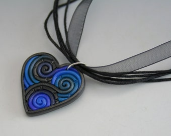 SALE Heart Pendant in Blue and Charcoal Fimo Filigree Valentine's Day Gift Black Friday Cyber Monday