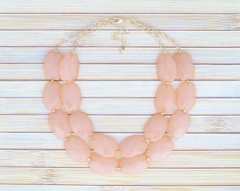 Peach Coral Bead 2-Strands Faux Gem Stone Necklace - Faceted Jewels Tiered Necklace - Large Stone Slab Dramatic Jeweled Bib Necklace