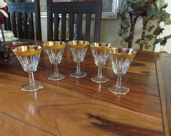Beautiful Vintage Italian Made Cut Crystal Cordial Stemware Set of Five