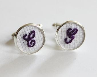 Purple Cufflinks, Initial Cuff Links, Cotton Cuff Links, Anniversary Gift for Him, Monogrammed Cufflinks, Groom Cufflink, Wedding Cufflinks