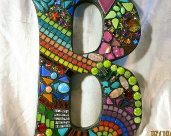 """MOSAIC LETTERS/Initials/Names - Totally Customizable Mixed Media Letters - 12"""" Tall - 'Wild & Funky' Style - Your Color Choice - Unique!!"""