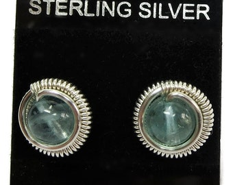 Aqua Blue Apatite & Sterling Silver Coiled Stud Post Earrings
