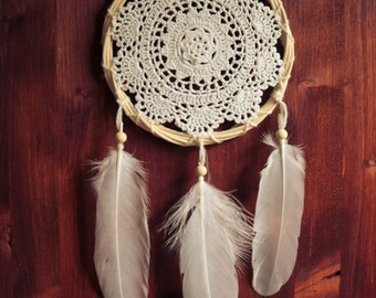 Dream Catcher - Flower of Nature - Unique Dream Catcher with White Handmade Crochet Web and White Feathers