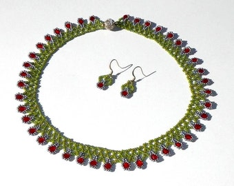 Olive Green Ruby Red and Silver Glass Hand Beaded Necklace and Matching Earrings