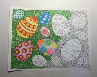 Adult Coloring Book Page Printable Digital Download Easter Egg