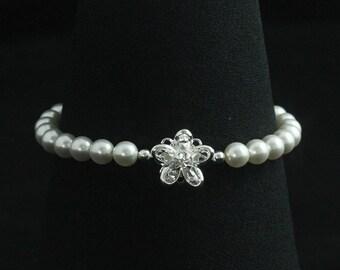 Pearl Bracelet with Crystal Flower -- Swarovski Crystal Pearl Wedding Bracelet, Rhinestone Pearl Crystal Wedding Jewelry -- OLIVIA