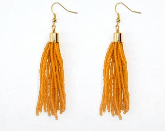 Matte Lime Neon Green Tassel Earring, Seed Beads Drop Earring, Handmade in Nepal, Beaded earring with tassel