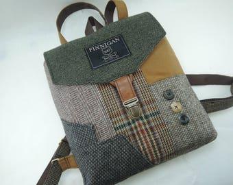 Backpack Recycled Backpack  bag, Mens Backpack Womens backpack Soft sided Bag Recycled Mens Suit Coat Bag Travel Bag