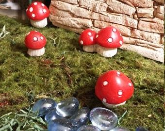 Fairy Garden Miniature Set of Four Red Mushrooms (Resin) for your Fairy Garden, Fairy Garden Accessories, Terrarium Accessories, Mushrooms