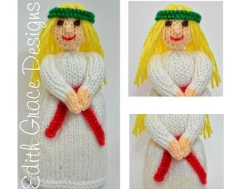 Doll Knitting Pattern - Christmas Doll - Knit Doll - St Lucia Doll - Toy Knitting Pattern - Sweden Doll - Sewing - Doll Making - Amigurumi
