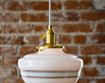 "Pendant Lighting Gold Brass - 10"" White Turquoise Blue Painted Banding Schoolhouse Glass Globe - Cloth Wire Ceiling Canopy"