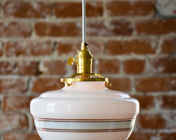 """Pendant Lighting Gold Brass - 10"""" White Turquoise Blue Painted Banding Schoolhouse Glass Globe - Cloth Wire Ceiling Canopy"""