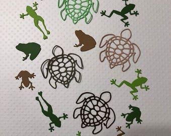 4 Turtles, 12 Frogs, Cute, Handmade, Greens, Browns, Sizzix