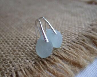 WATERDROPS...Scottish sea glass sterling silver elegant earrings with sea foam sea glass, sterling silver and Scottish sea glass earrings