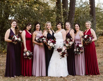 Coralie Beatrix Mismatched Bridesmaids Long Dress- Choose your Fabric from over 55 colors- Octopus Infinity Wrap Dress- All sizes, Plus
