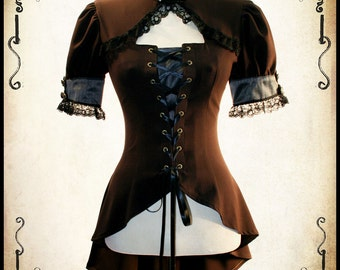 Miss Delphine Steampunk clothing blouse - Steam punk shirt for LARP, victorian costume and cosplay