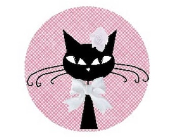 cabochon black cat, 20mm, pink, white node