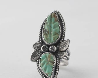 Carved Leaf Turquoise and Sterling Silver Ring, Southwestern Ring, Boho Jewelry,