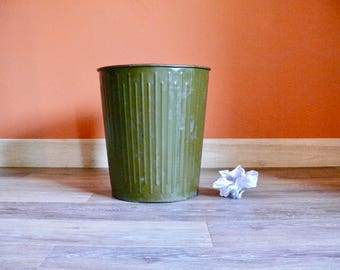 "Large Dan-Dee No 4 Trash Can, Erie Art Metal Co, Olive Green 14"" Trash Can, Vintage Industrial Waste Paper Basket, Office Home Decor"